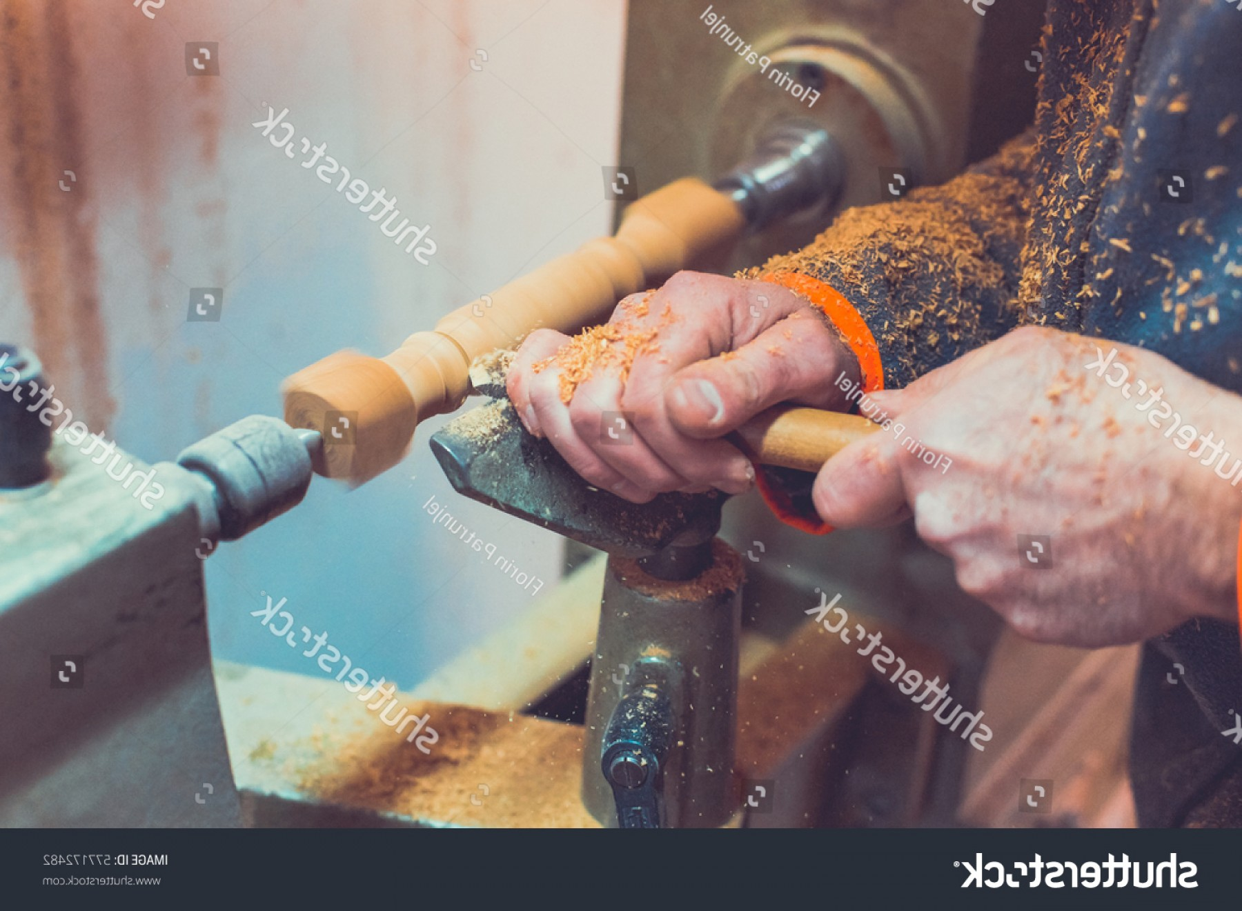 Hand Lathe Vector: Mans Hands Hold Chisel Near Lathe