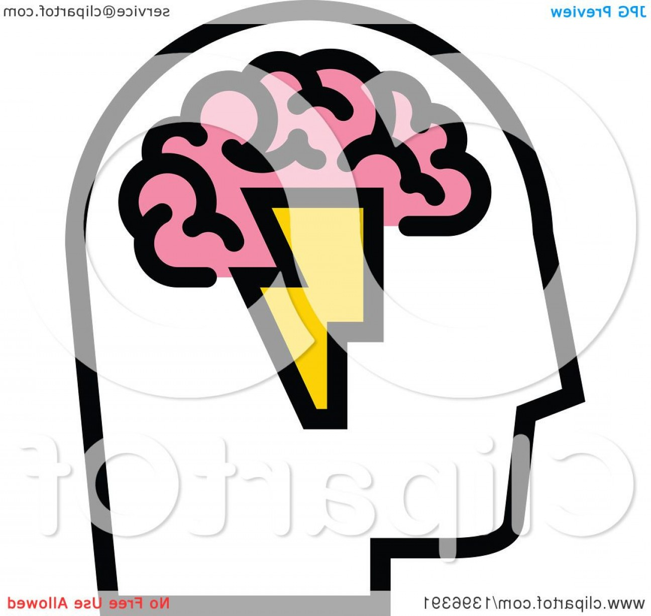Lightning Bolt Vector Clip Art: Mans Head With Visible Pink Brain And Lightning Bolt