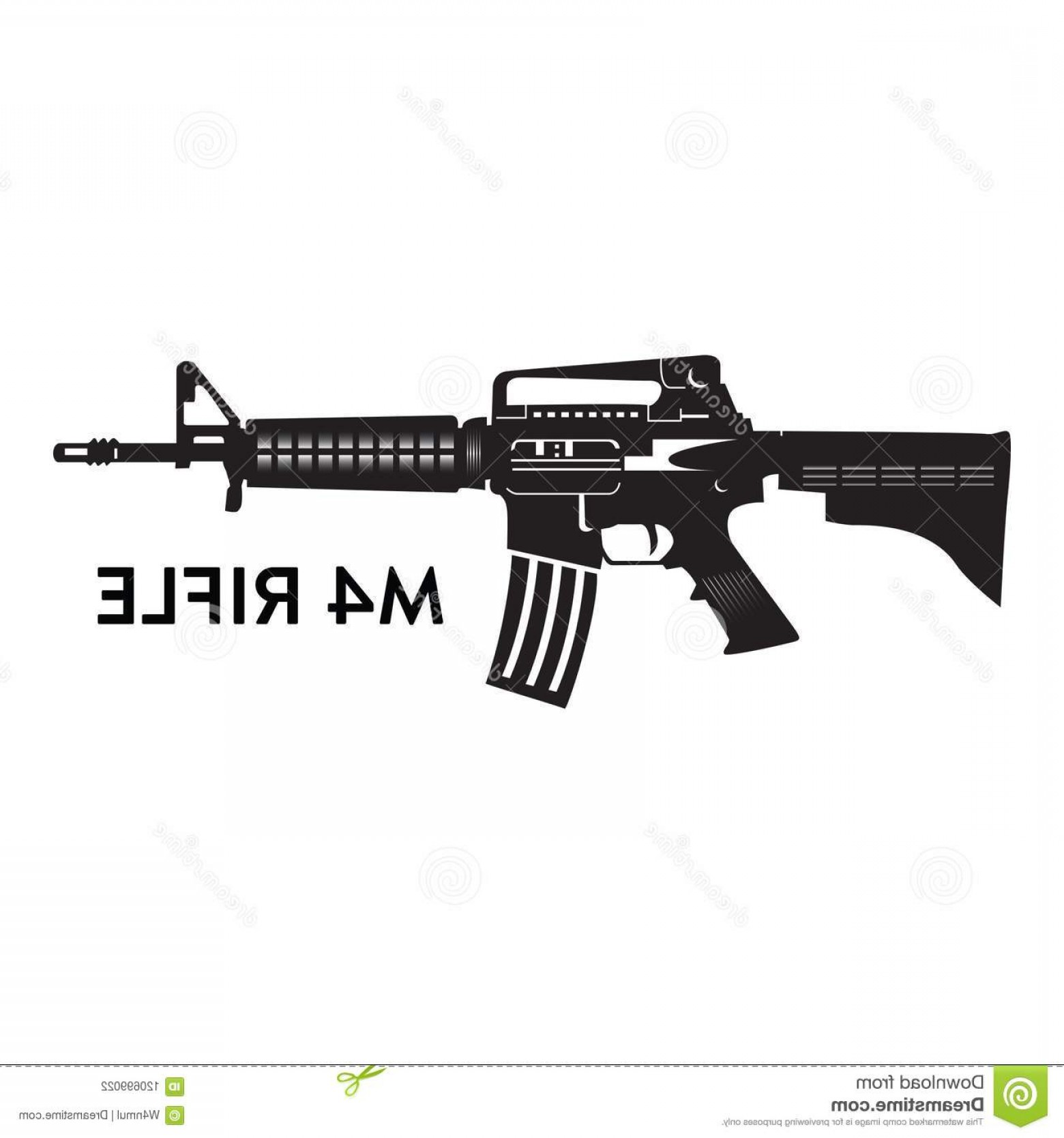 M4 Gun Vector: Manual Hand Drawn M Rifle Vector Silhouette Walther Colt Carbine Image