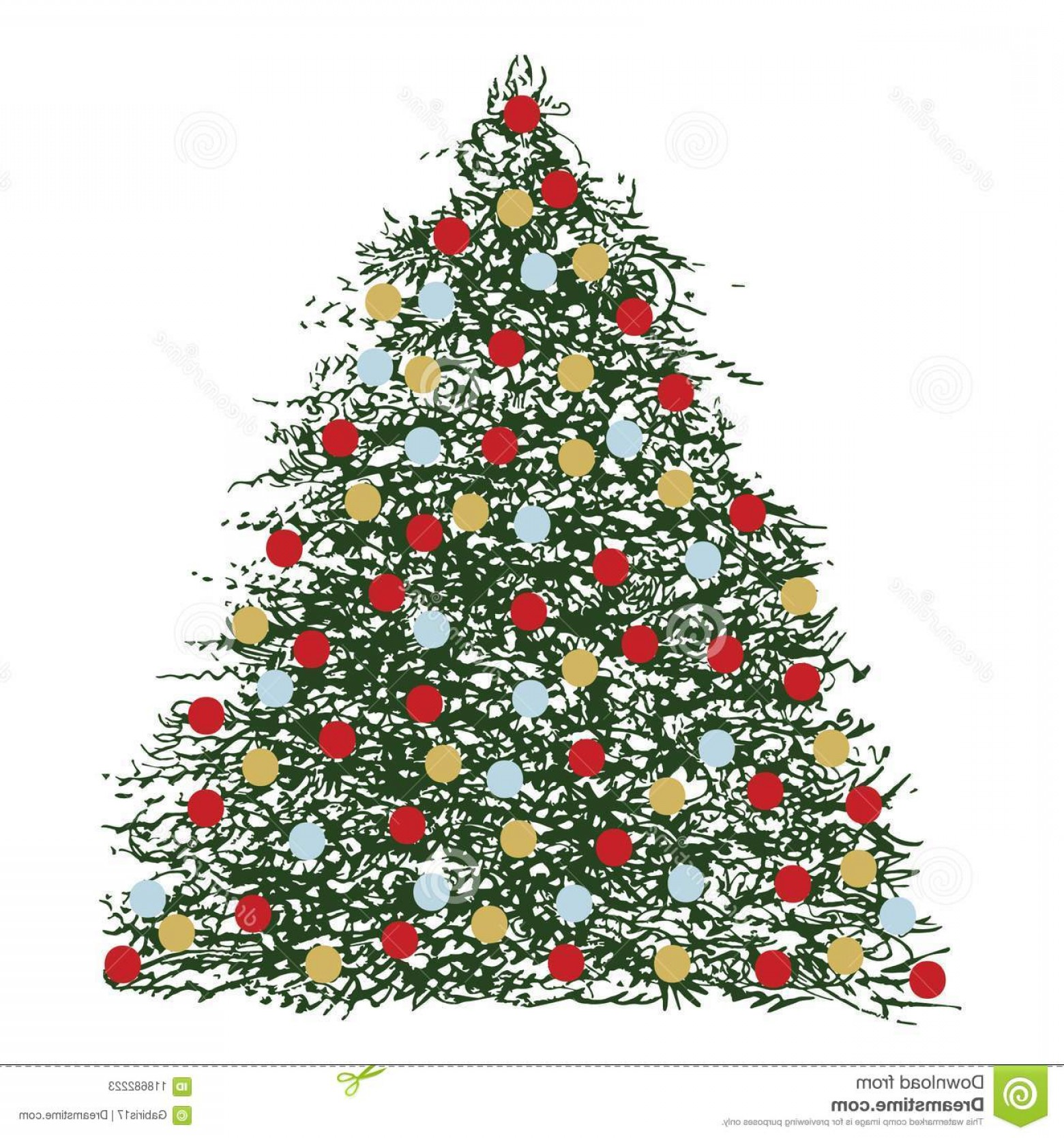 Vector-Based Grayscale Christmas: Manually Generated Brush Ink Based Triangular Decorated Christmas Tree Illustration Remastered Digitally Deep Green Color Image
