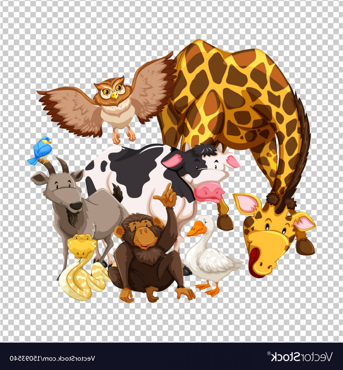 Vector No Wildlife: Many Wild Animals On Transparent Background Vector
