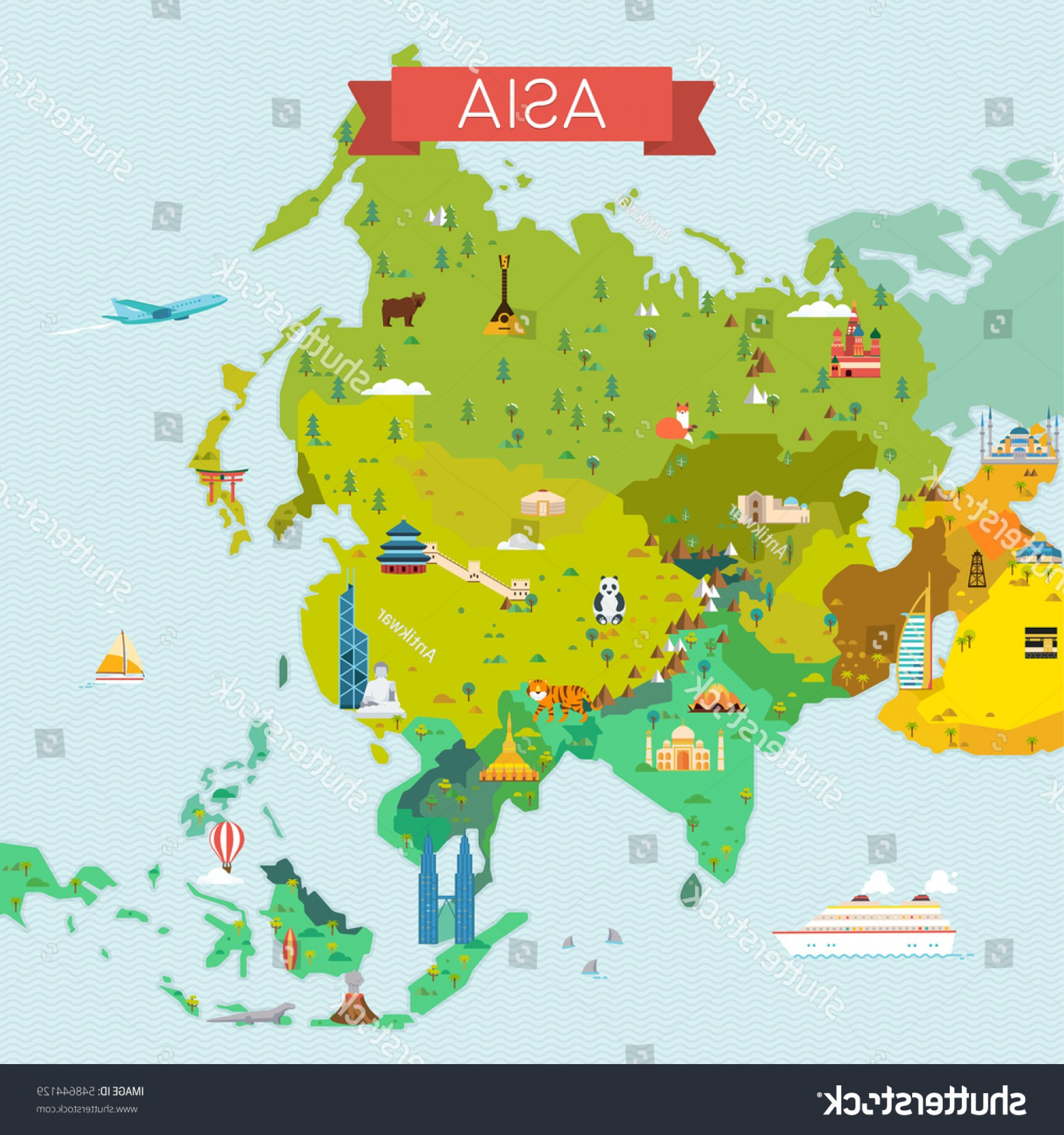 BG Vector Map: Map Asia Travel Tourism Background Vector