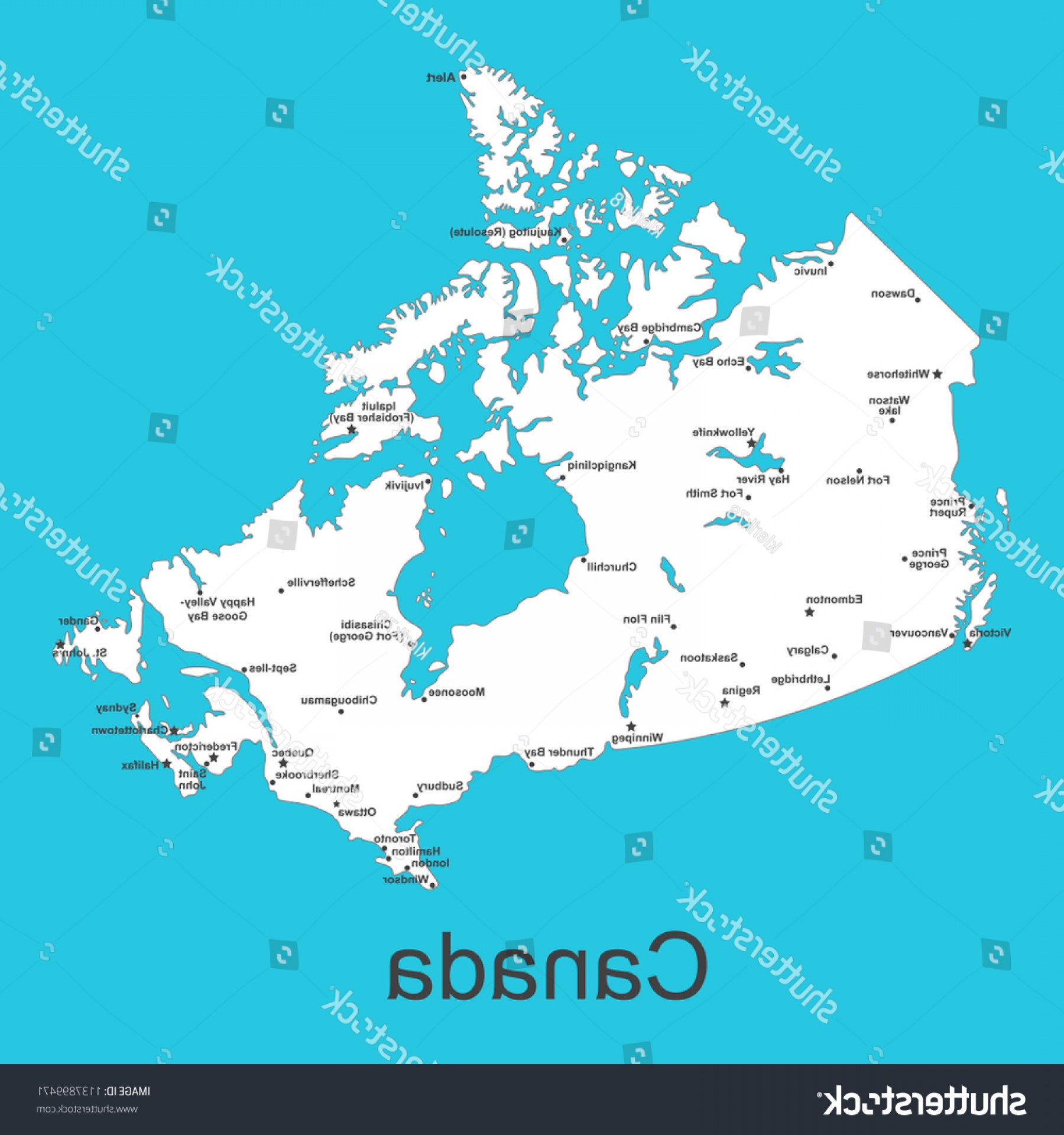 BG Vector Map: Map Canada Cities On Blue Background