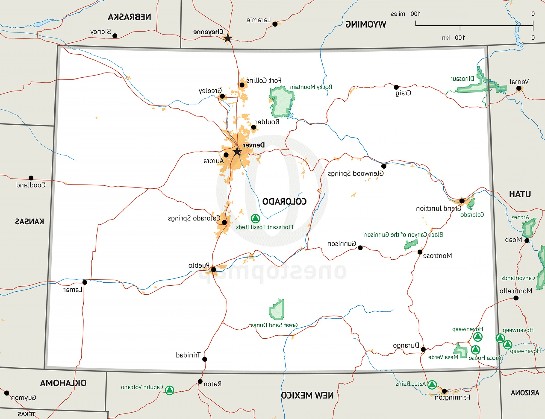 Colorado State Vector Maps: Map Of Colorado Defined Plus