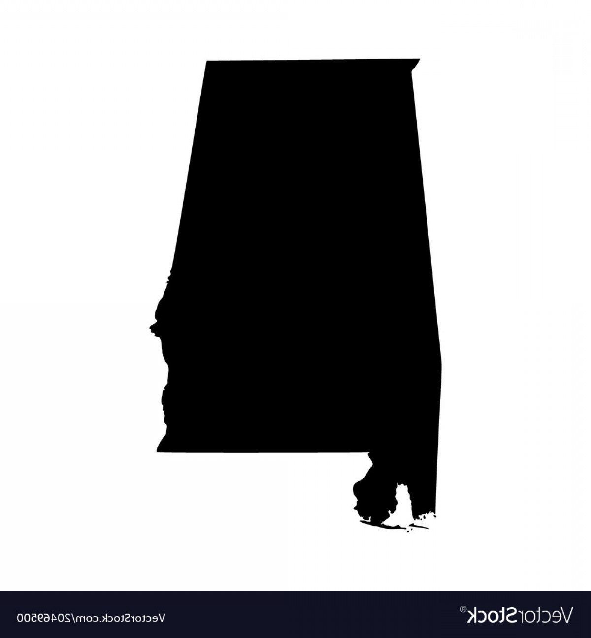 Alabama Outline Vector: Map Of The Us State Alabama Vector