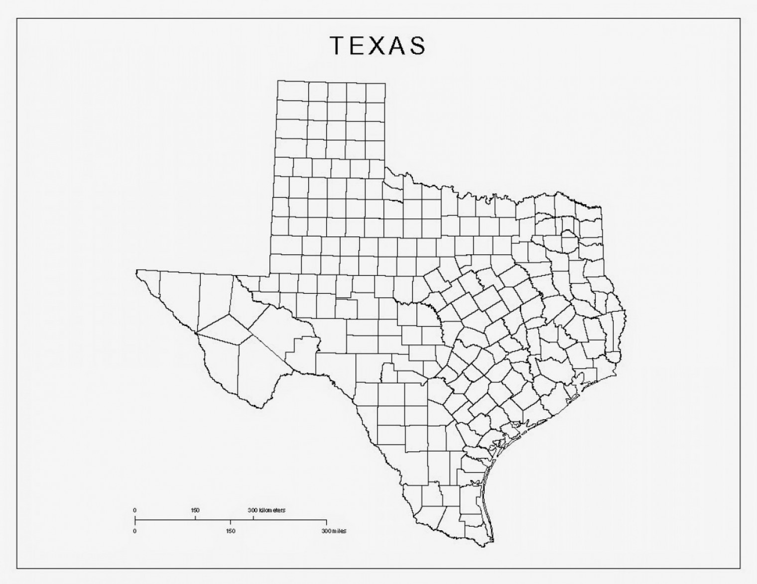WI County Map Vector: Map Of The Us State Of Texas Vector High Resolution Map Black And White Texas Map