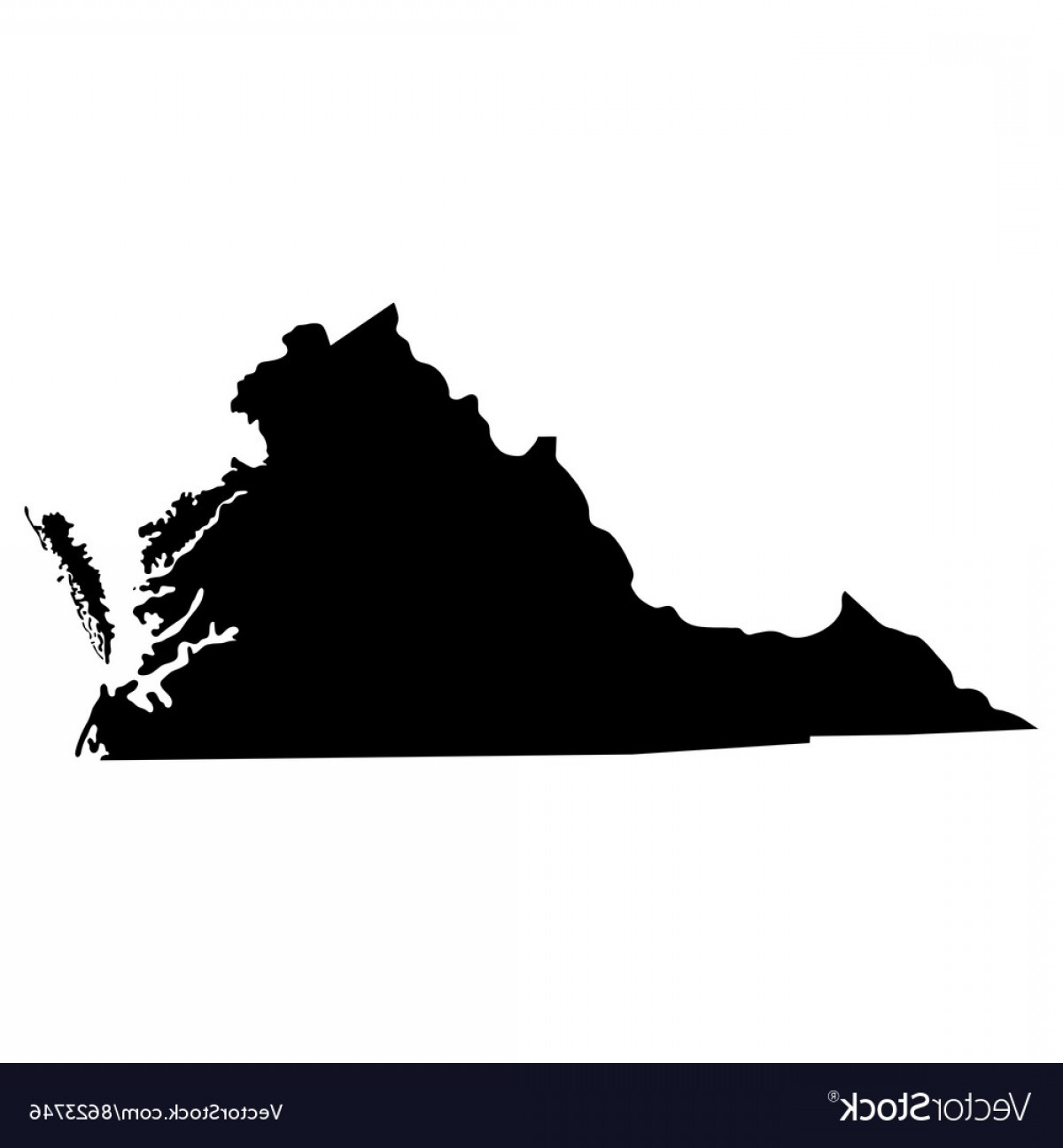Virginia Vector: Map Of The Us State Of Virginia Vector