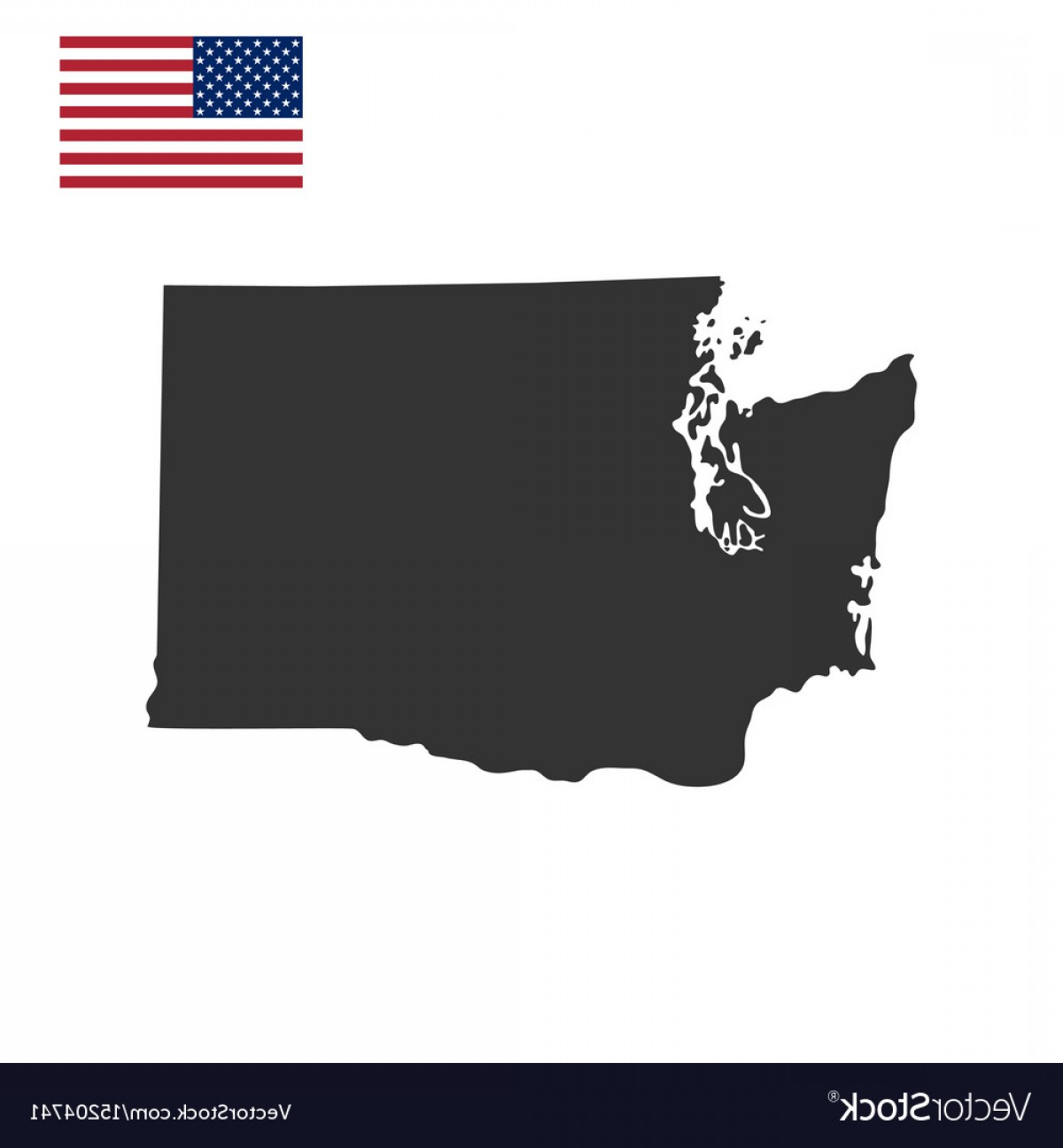 Washington State Map Vector: Map Of The Us State Of Washington Vector