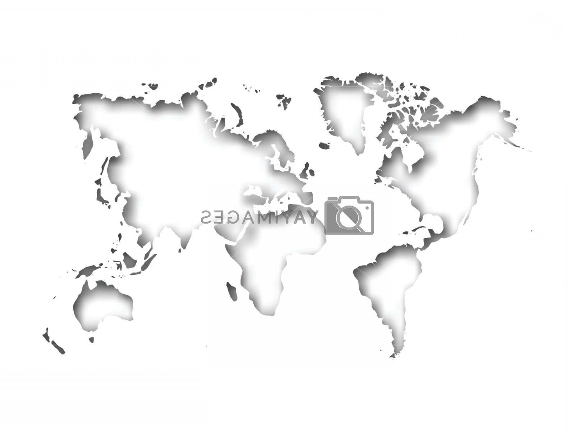 BG Vector Map: Map Of World Cut Into Paper With Inner Shadow Isolated On Grey Background Vector Illustration With D Effect
