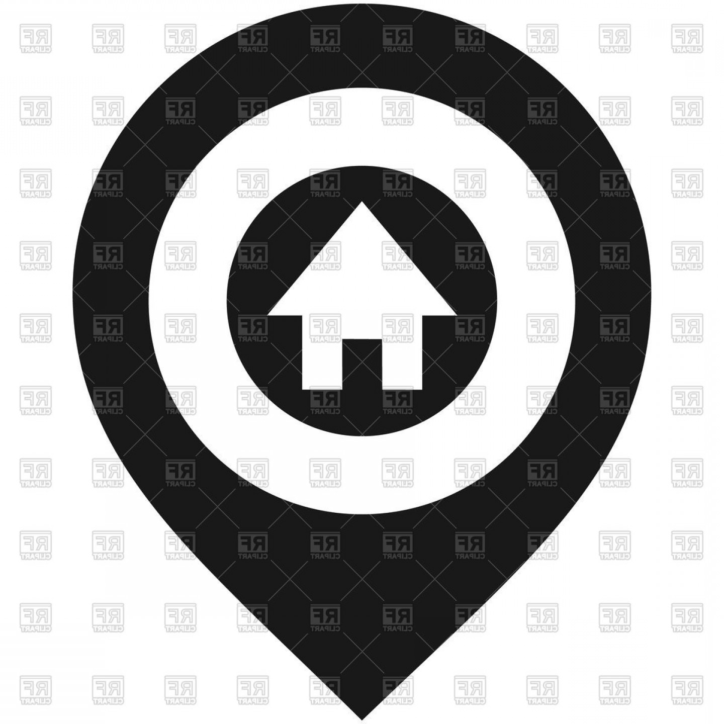 Vector House Sign: Map Pin With House Sign Vector Clipart