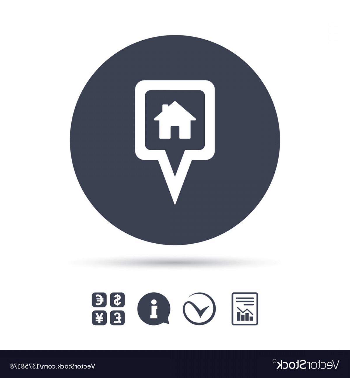 Vector House Sign: Map Pointer House Sign Icon Marker Symbol Vector