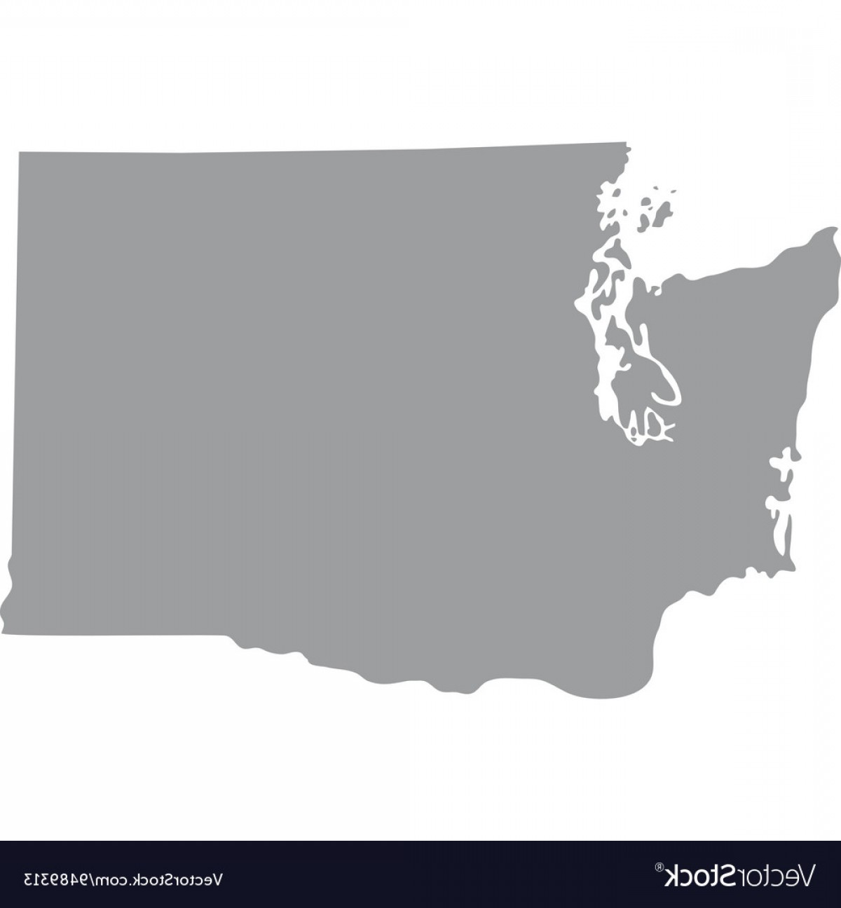Washington State Map Vector: Map Us State Of Washington Vector