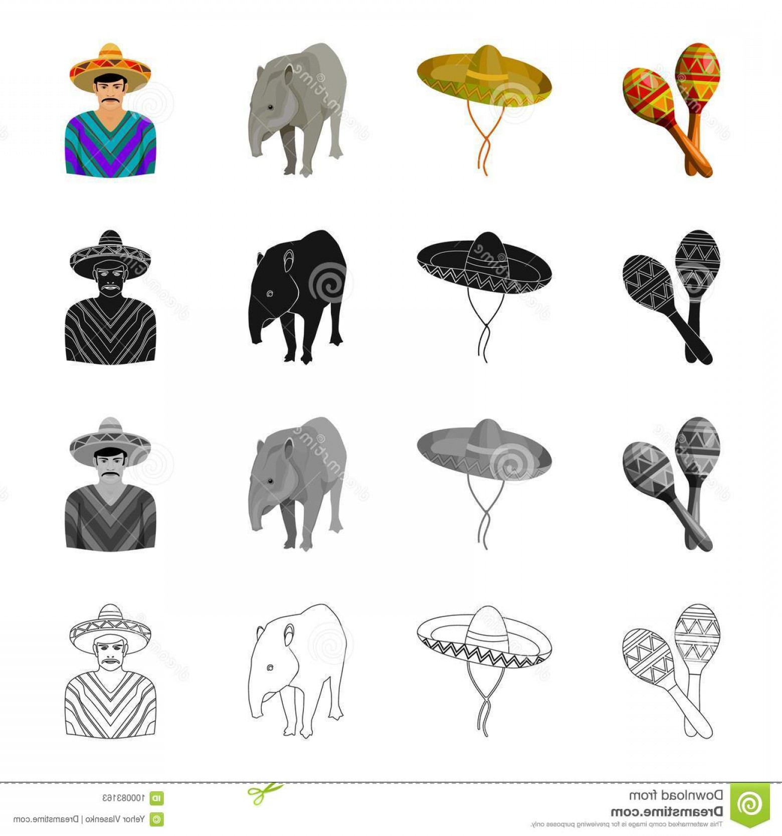 Sombrero Vector Outline: Maracas Sombrero Tapir Mexican Country Mexico Set Collection Icons Cartoon Black Monochrome Outline Style Vector Maracas Image