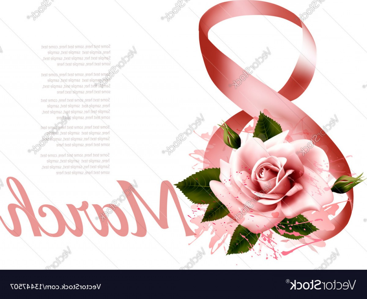 Women With Roses Vector: March With Red Rose International Womens Vector
