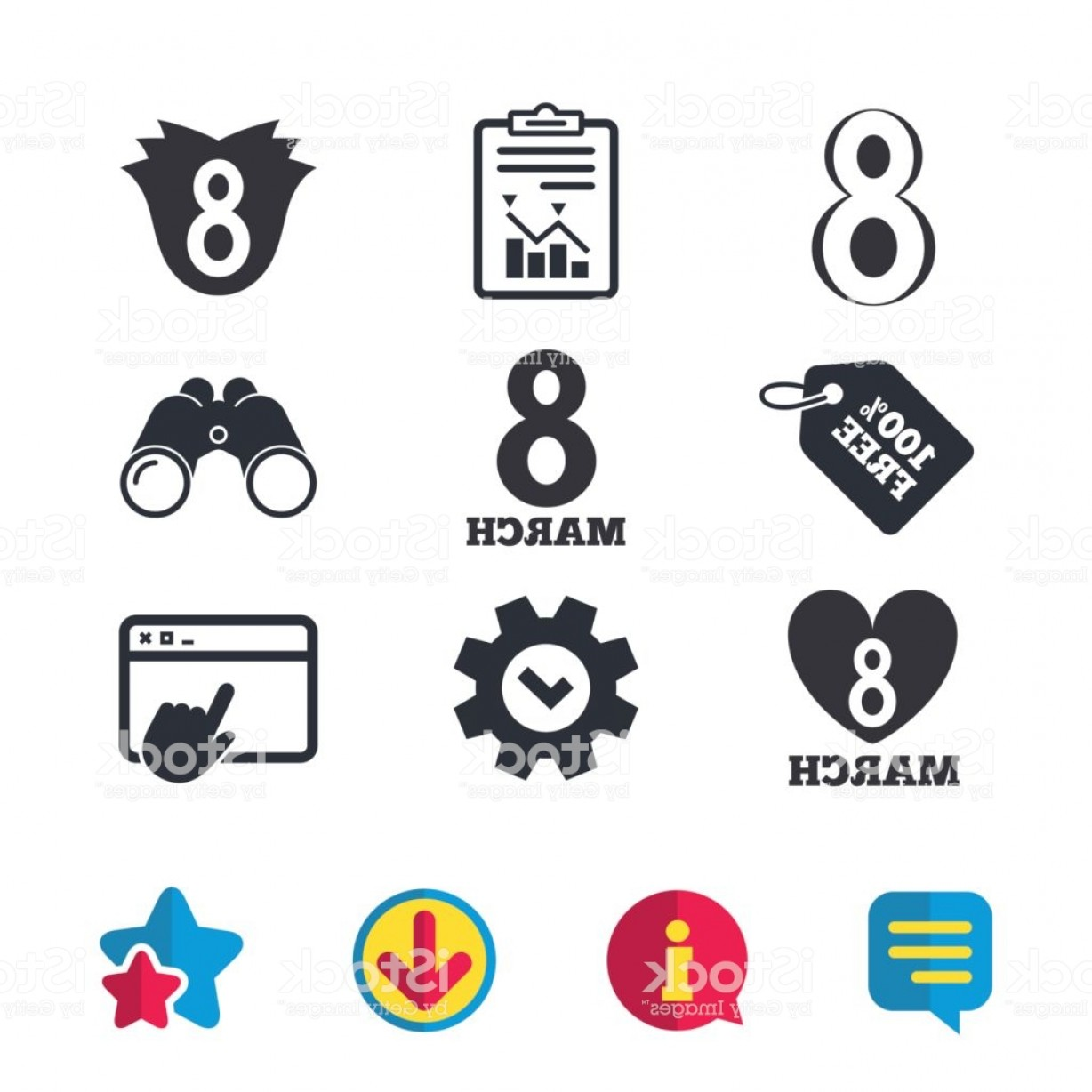 Windows 8 Phone Icon Vector: March Womens Day Icons Flower Heart Symbols Gm