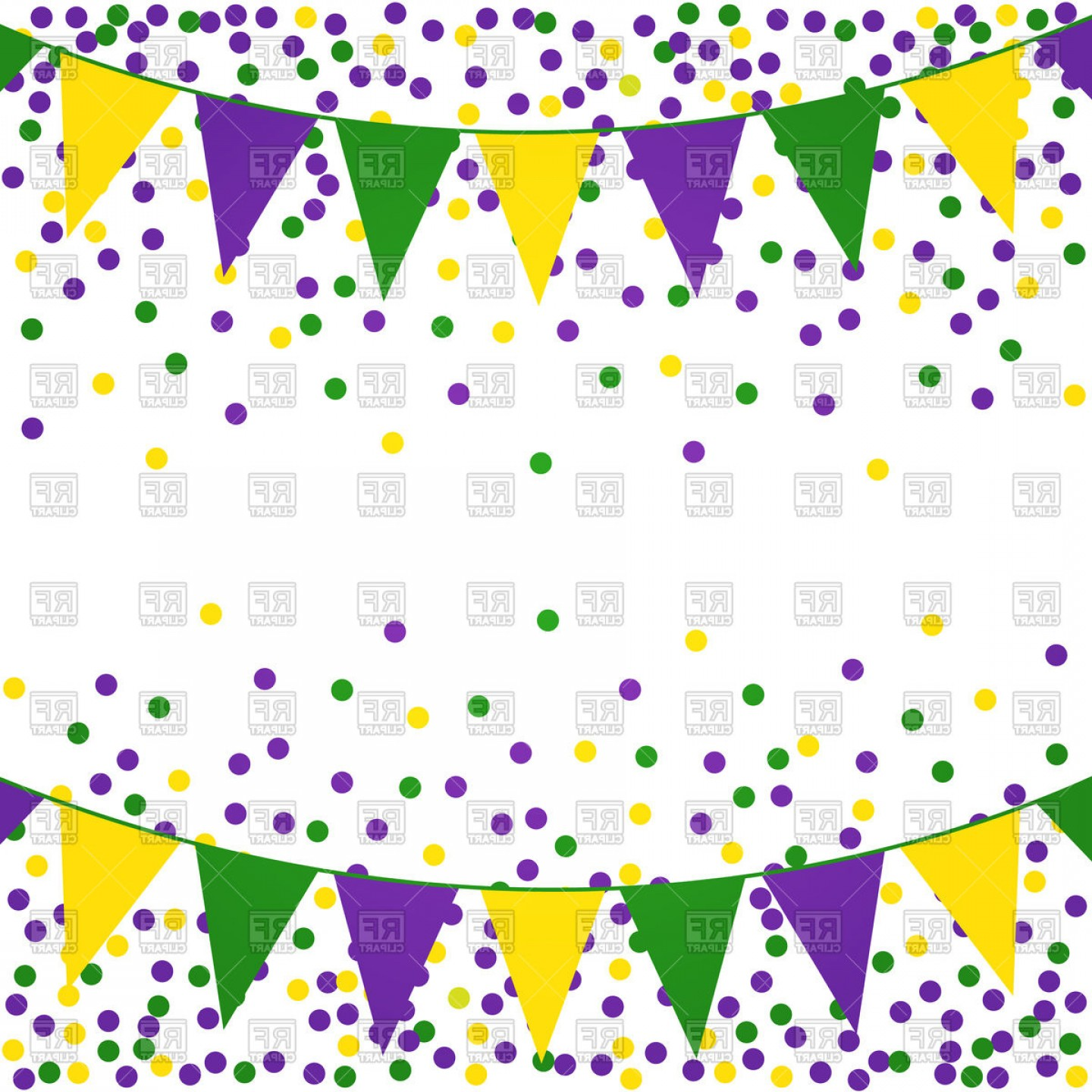 Gra Mardi Bead Vector Clip Art: Mardi Gras Background With Beads And Flags Vector Clipart