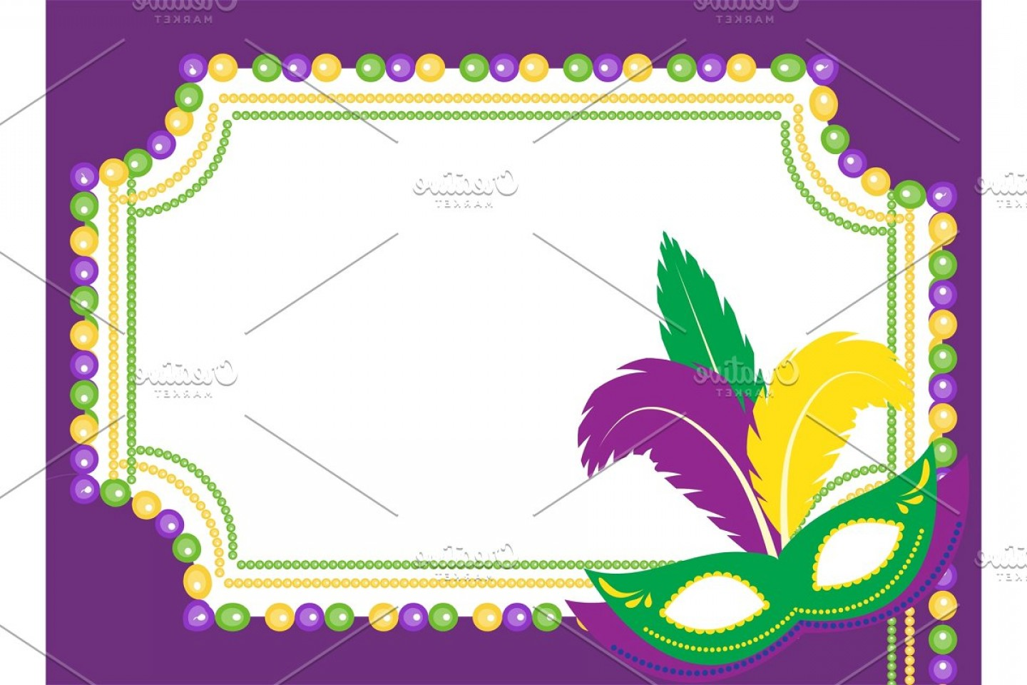 Gra Mardi Bead Vector Clip Art: Mardi Gras Beads Colored Frame With A Mask Isolated On White Background