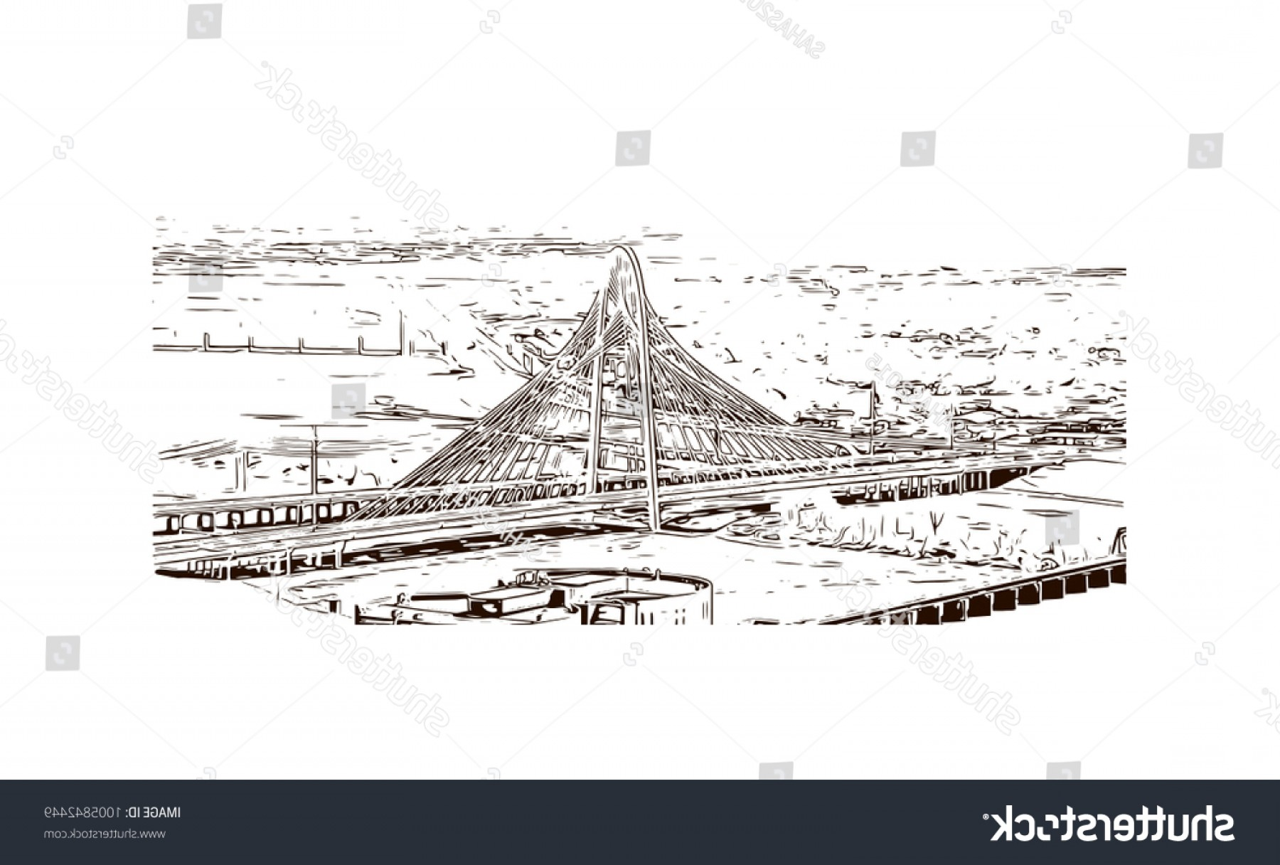 Texas Vector Drawing: Margaret Hunt Hill Bridge Dallas Texas