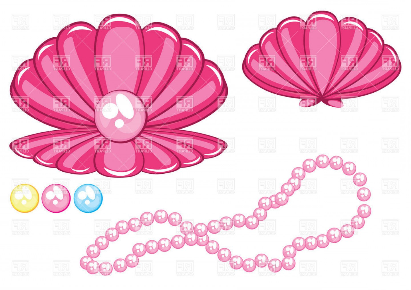 Pearl Necklace Vector Clip Art: Marine Cockleshell With A Pearl Download Royalty Free Vector File Eps Lively Clip Art
