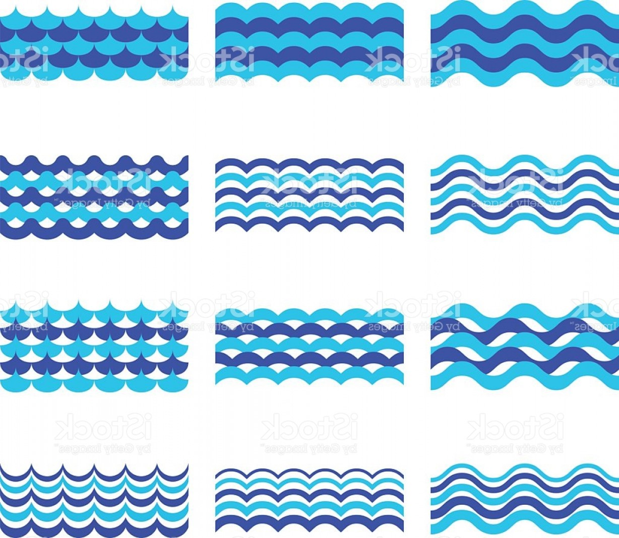 Ocean Wave Vector Illustration: Marine Sea Ocean Waves Vector Set Gm
