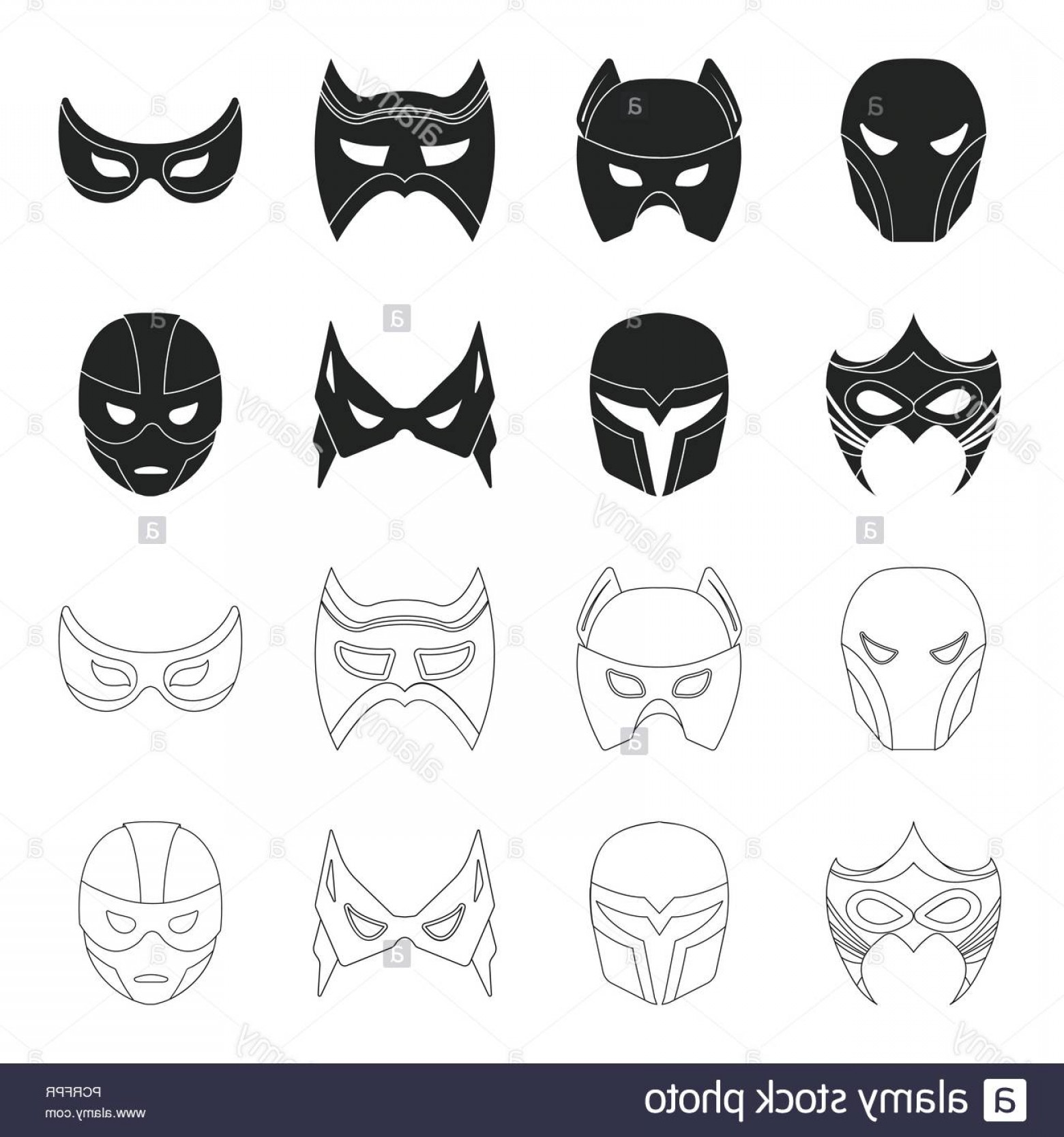 Batman Mask Sketch Vector: Mask On The Head And Eyes Super Hero Mask Set Collection Icons In Blackoutline Style Vector Symbol Stock Illustration Image