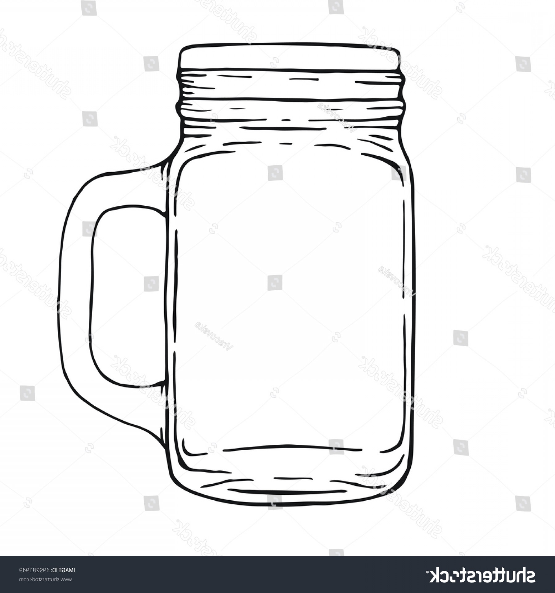 Mason Jar Outline Vector: Mason Drinking Jar Hand Drawn Illustration