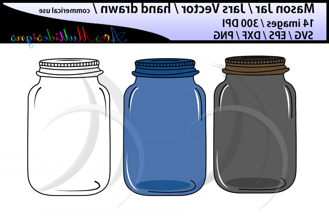 Mason Jar Outline Vector: Mason Jar Clipart Set Hand Drawn Mason Jar Clipart Mason Jar Svg Eps Dxf Png Mason Jar Silhouette Commercial And Personal Use Vector