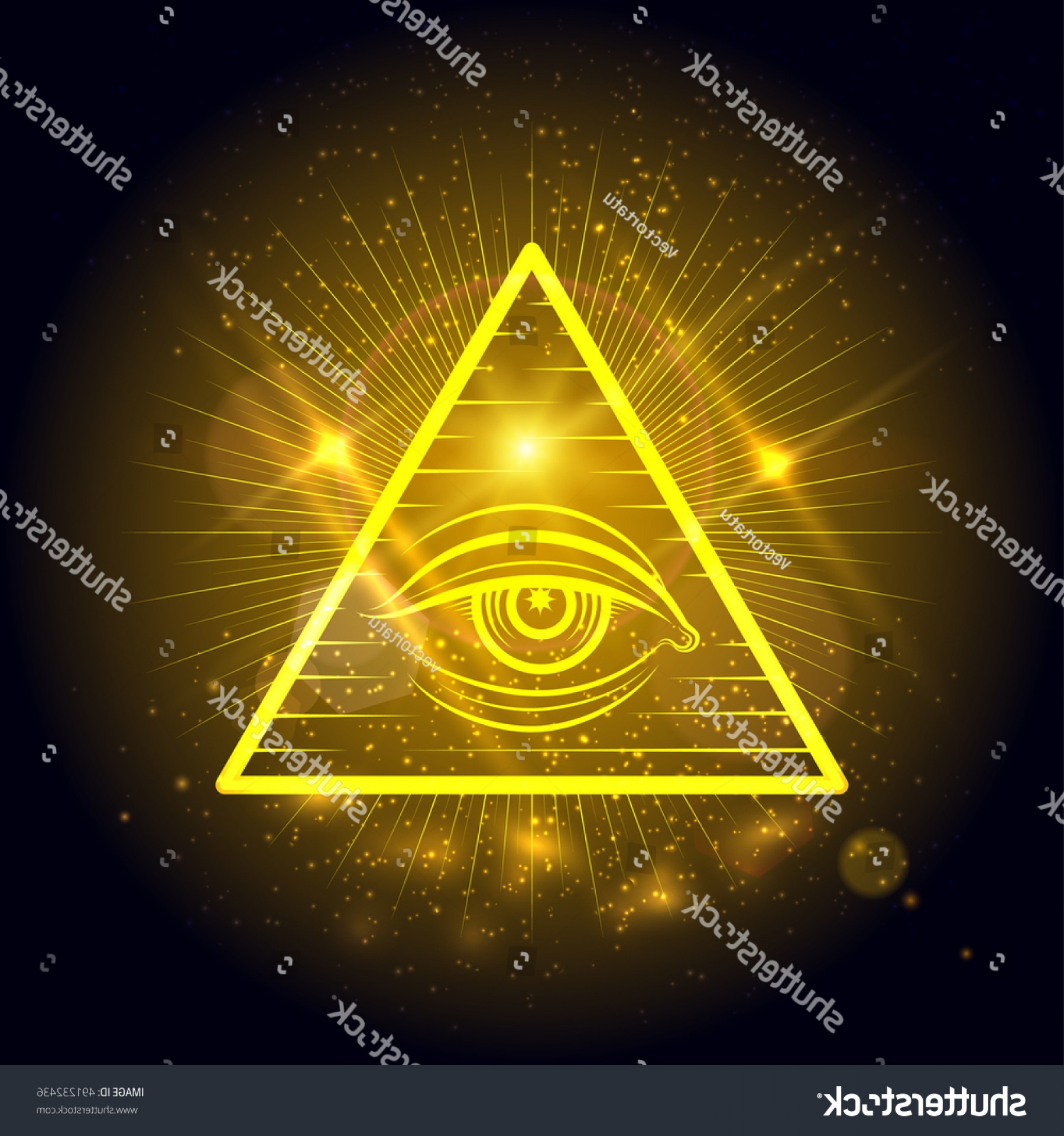 Sacred Heart Vector Genius: Masonic Eye Omniscience On Golden Shining