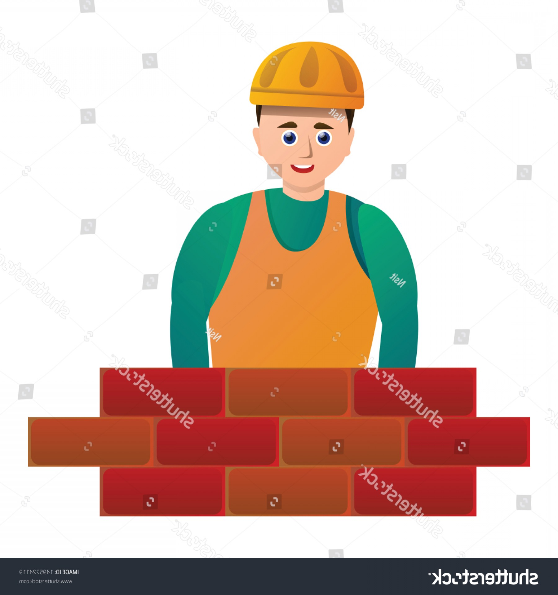 Worker Vector: Masonry Brick Worker Icon Cartoon Vector