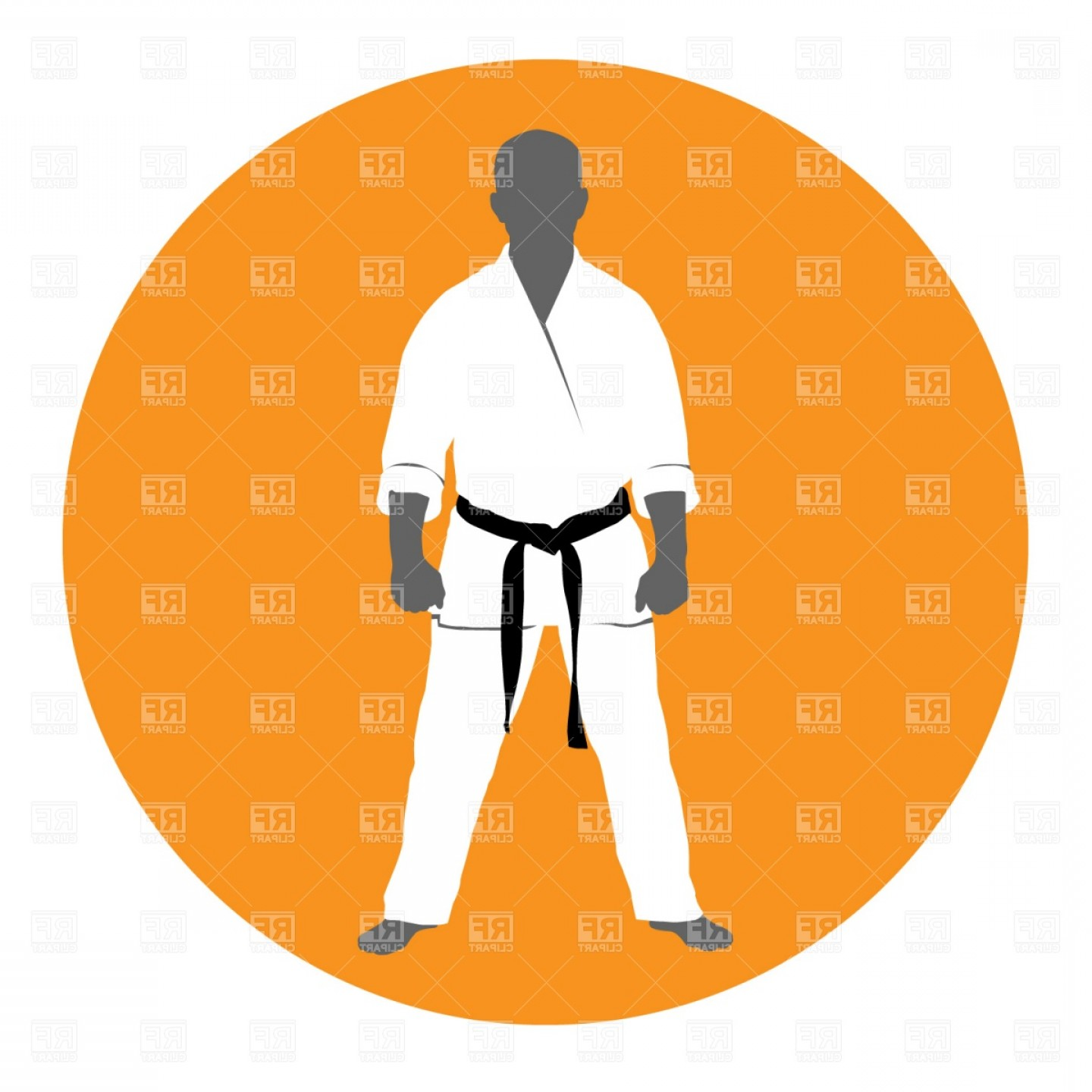 Karate Vector: Master Of Martial Art In Kimono Vector Clipart