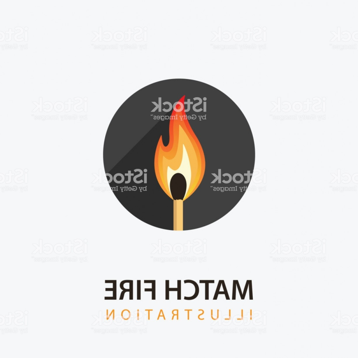 Vector Flame Stick Pattern: Match Stick With Fire Burning Match In Circle Gm