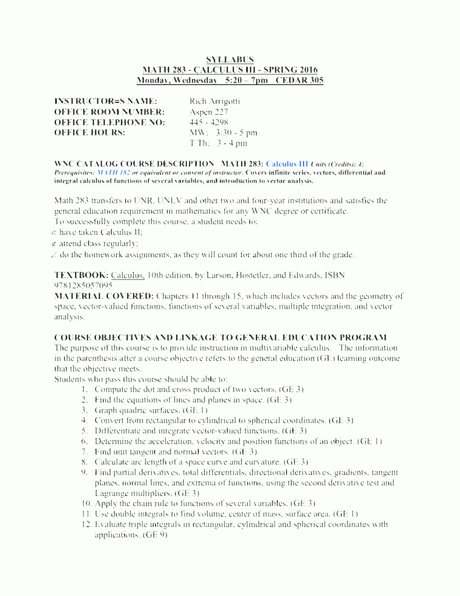 Vectors And Vector Valued Functions: Math Calculus Iii