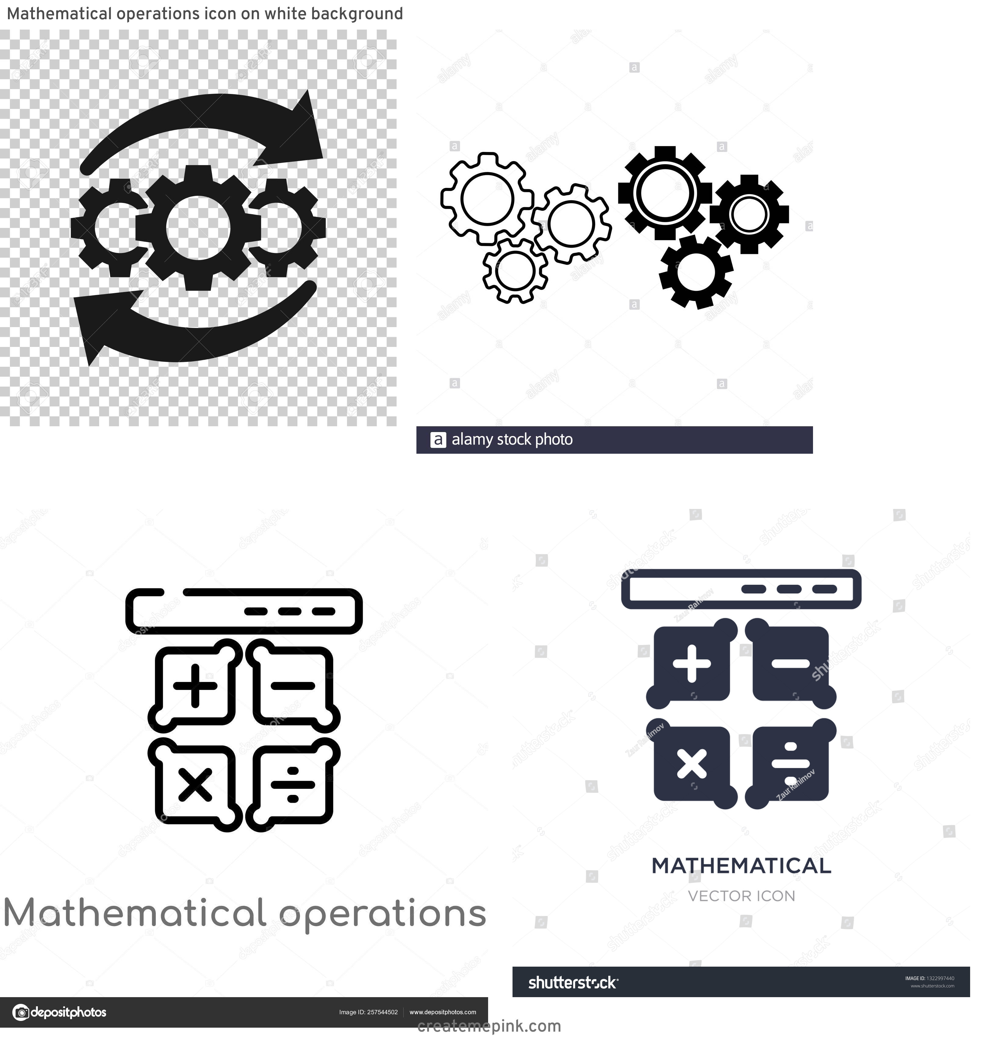 Operations Icon Vector: Mathematical Operations Icon On White Background