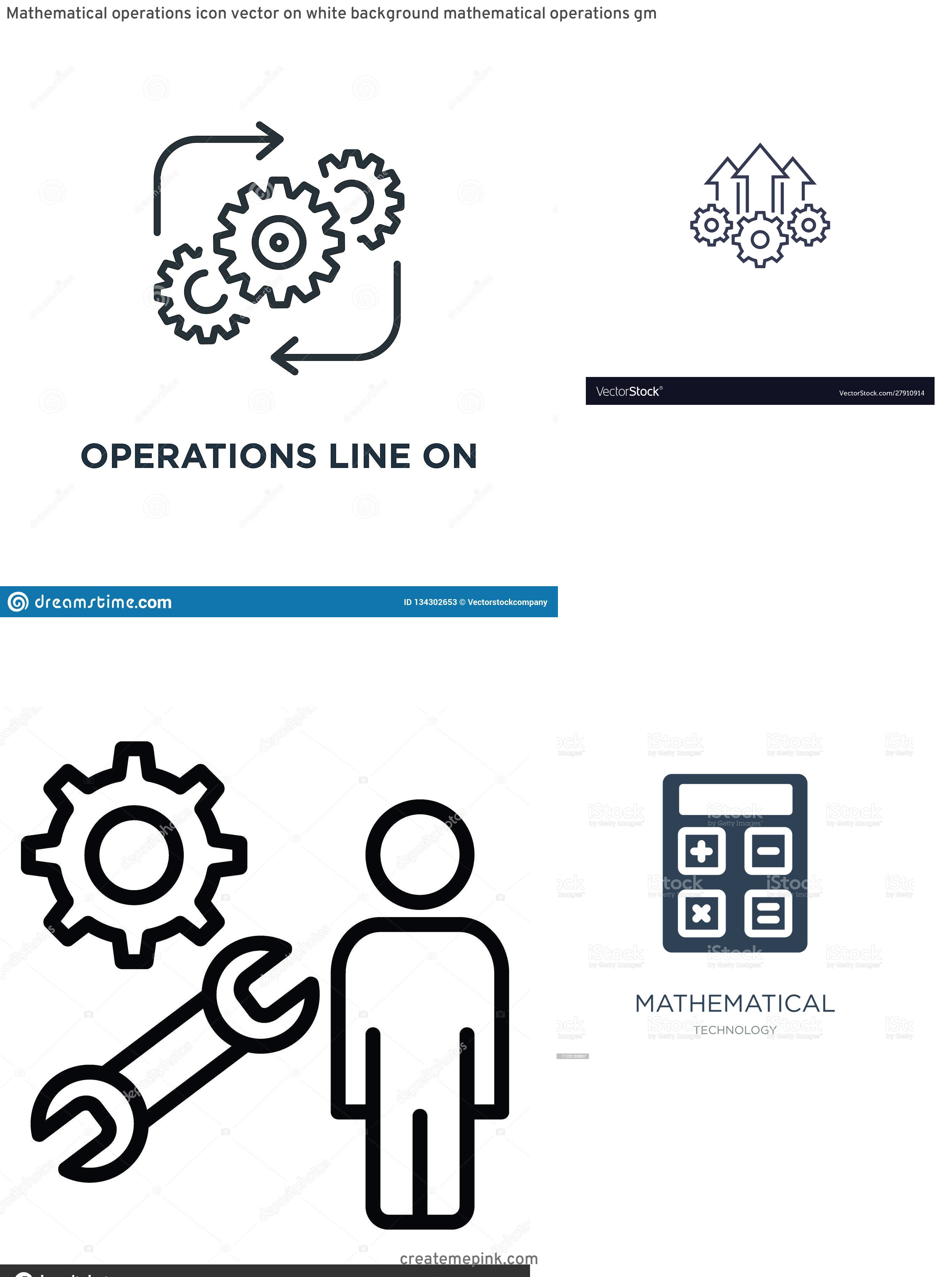 Operations Icon Vector: Mathematical Operations Icon Vector On White Background Mathematical Operations Gm