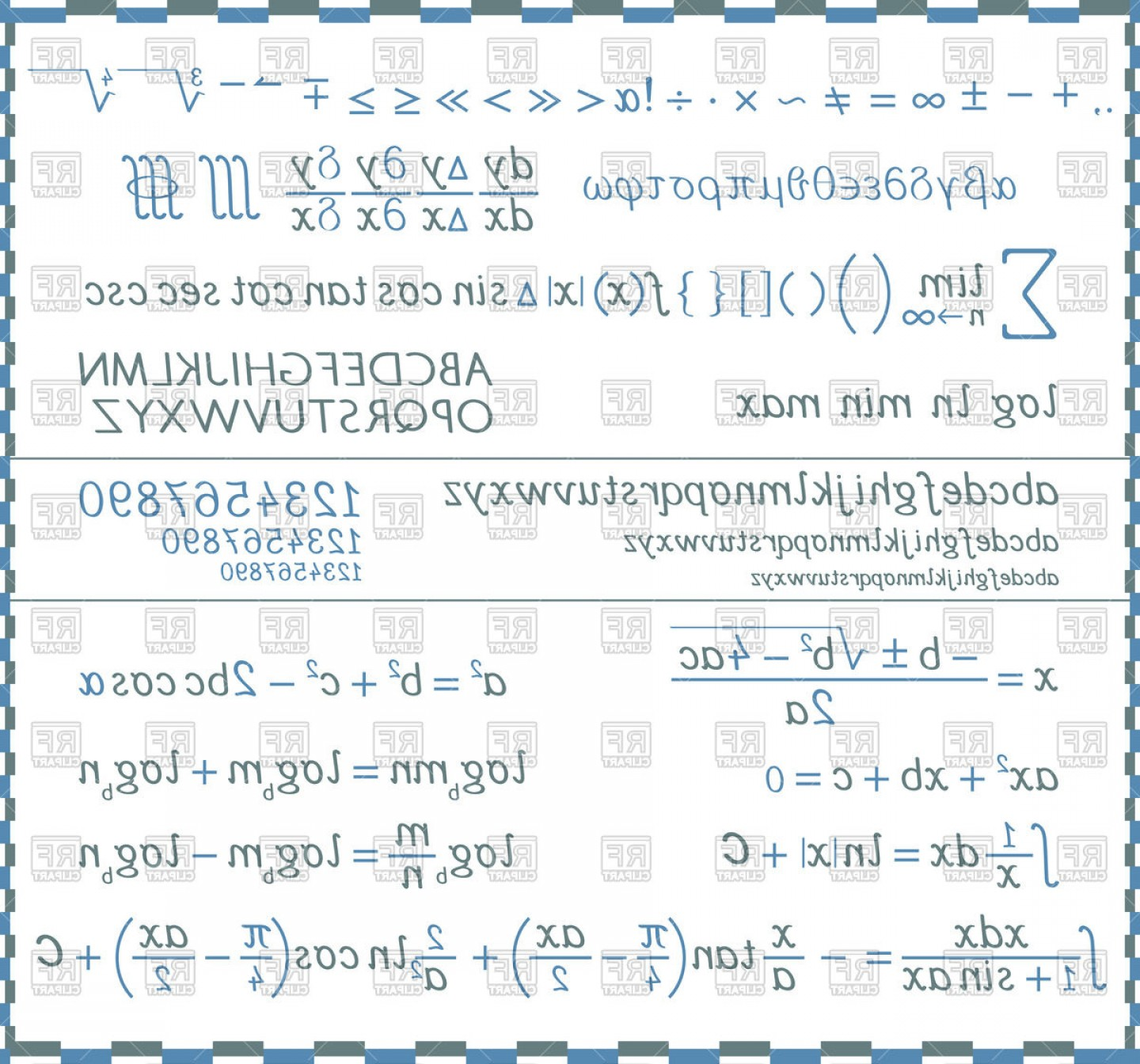Log C Vector: Mathematical Symbols Numbers And Letters Handwriting Vector Clipart