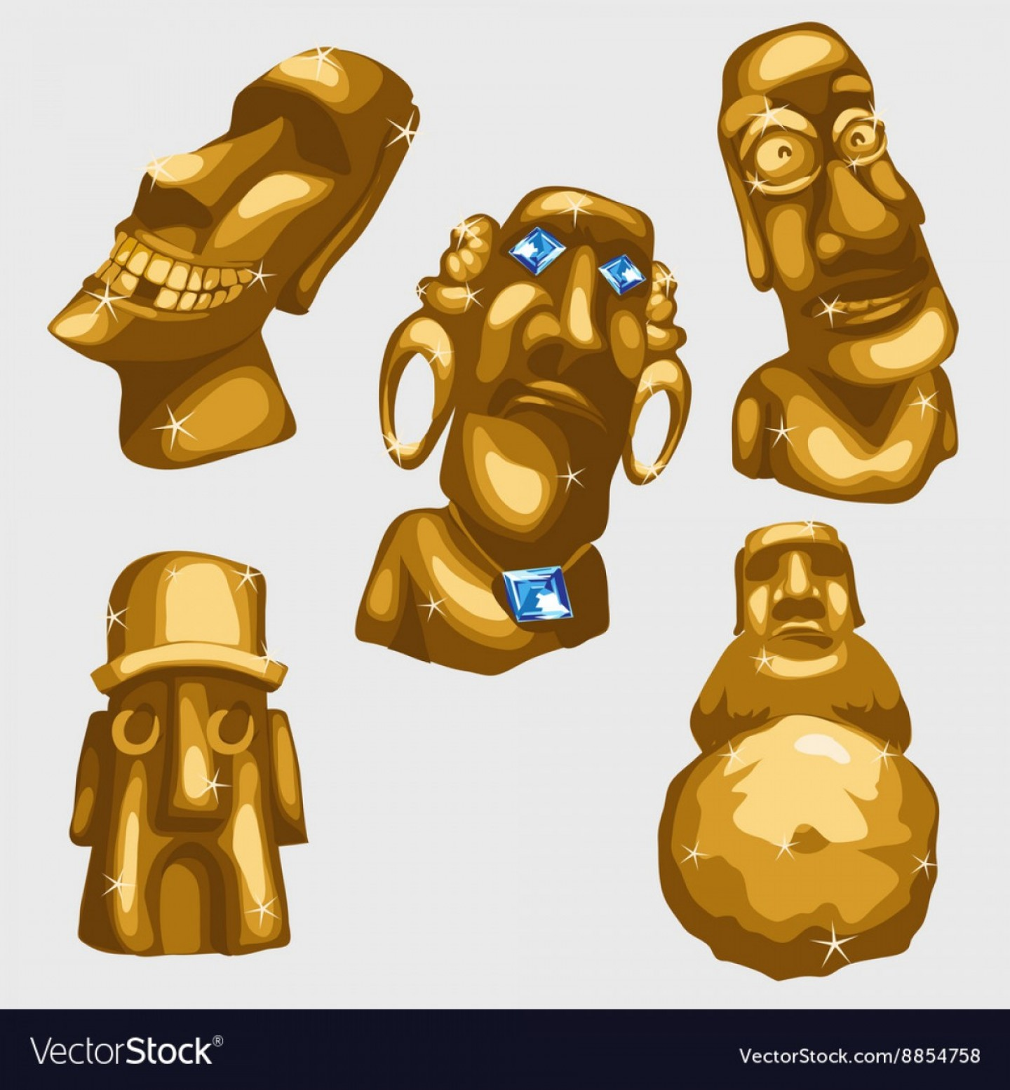 Mayan Sun Gold Vector Png: Maya Sculptures From Gold With Sapphires Vector