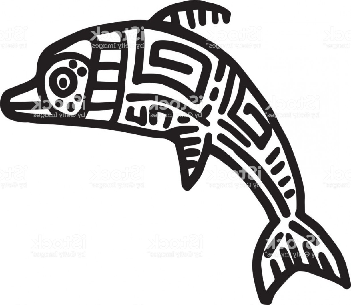 Mayan Vector: Mayan Art Animals Vector Leaping Dolphin Gm