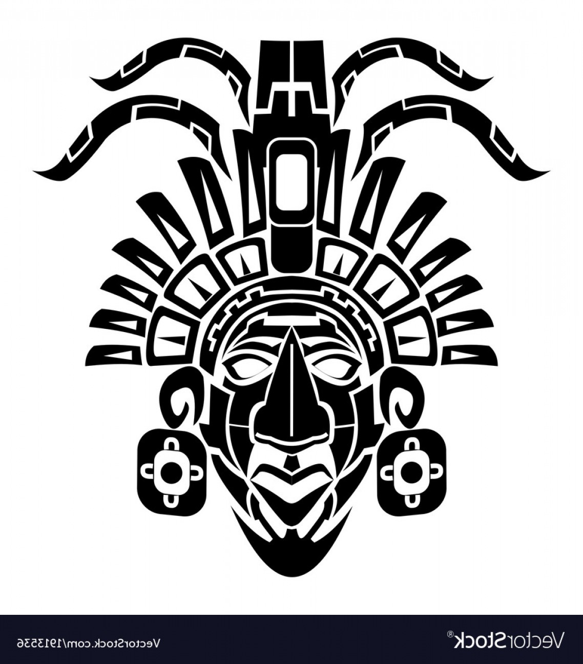 Mayan Vector: Mayan Mask Tribal Tattoo Vector