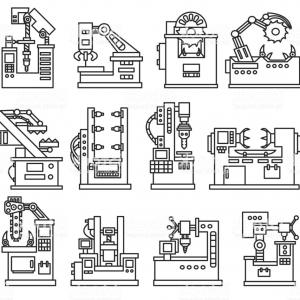 Wrought Iron Vector For CNC: Machines For Production Icons Set Gm