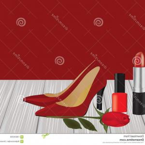 Vector Rose Shoes: Makeup Red Shoes Rose Wooden Planks Vector Image