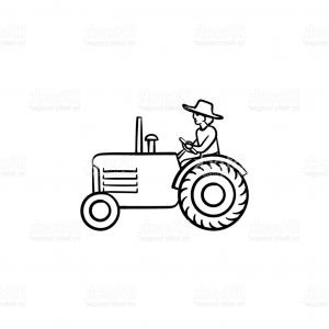 Tractor Vector Outline Black: Man Driving Tractor Hand Drawn Sketch Icon Gm