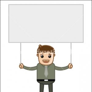 Vector Person Holding: Man Holding A Banner Office And Business People Cartoon Character Vector Illustration Concept Bvxxghrbxwjgobwv