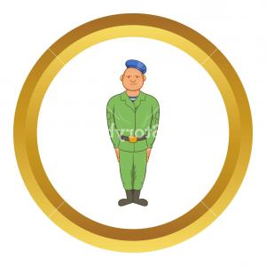 Vector Army Clothes: Man In Green Army Uniform And Blue Beret Vector Icon In Golden Circle Cartoon Style Isolated On White Background Rubwgnyqjhnunil