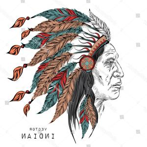 American Indian Chief Vector: Man Native American Indian Chief Black