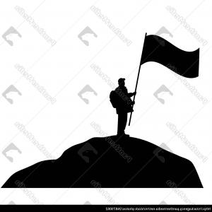 Man Waving Vector: Man Waving Large Flag On A