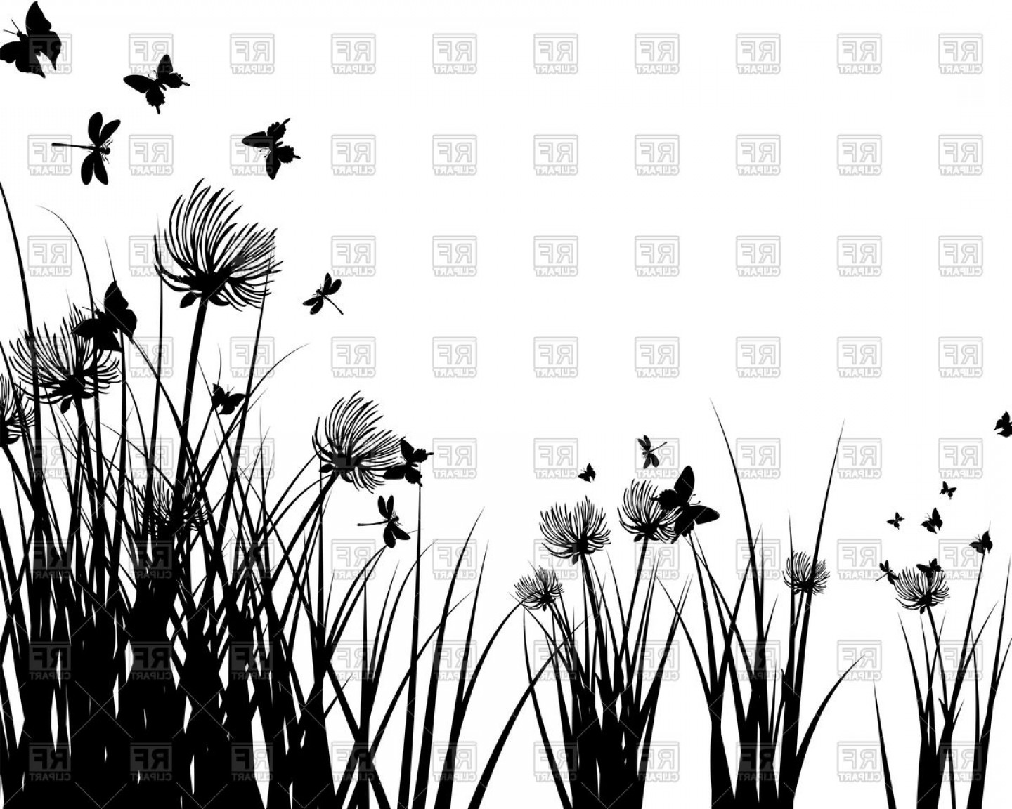 Butter Fly And Flower Vector Black And White: Meadow Grass Background With Butterfly And Flower Vector Illustration Vector Clipart