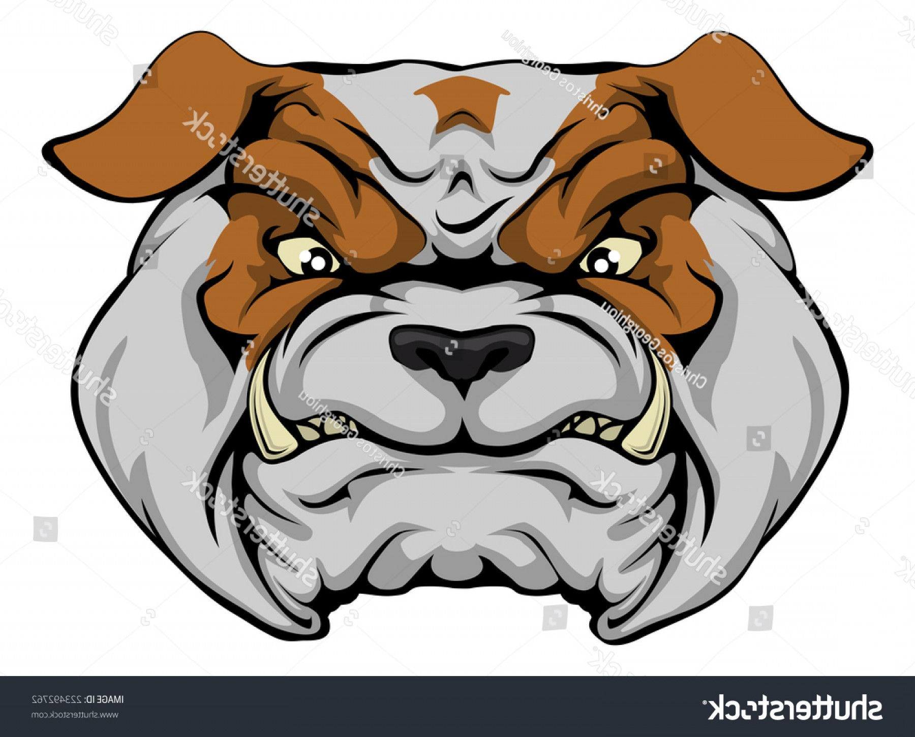 Dog Mascot Vector: Mean Bulldog Dog Character Sports Mascot