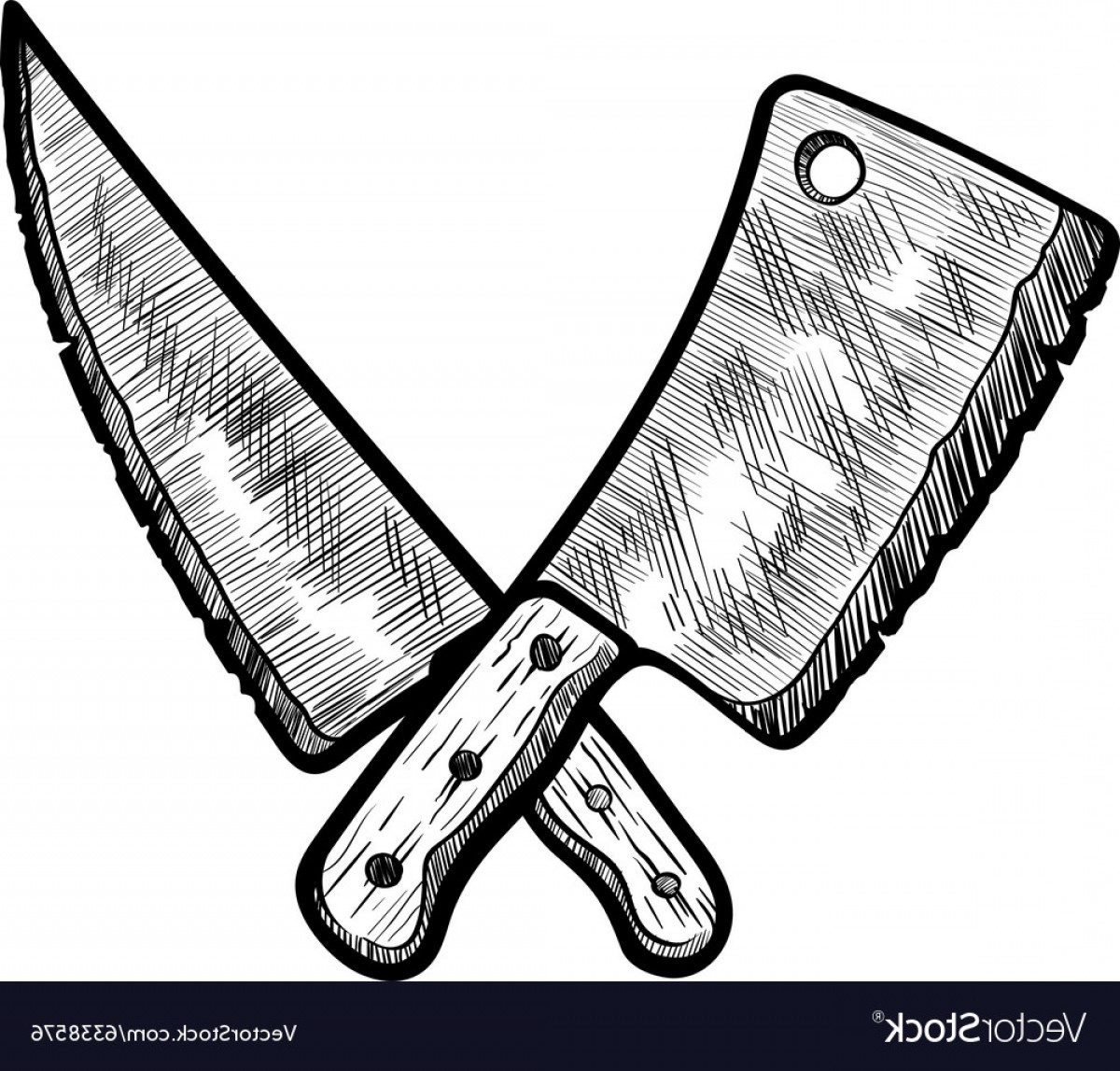 Butcher Knife Vector: Meat Clever And Butcher Knife Vector