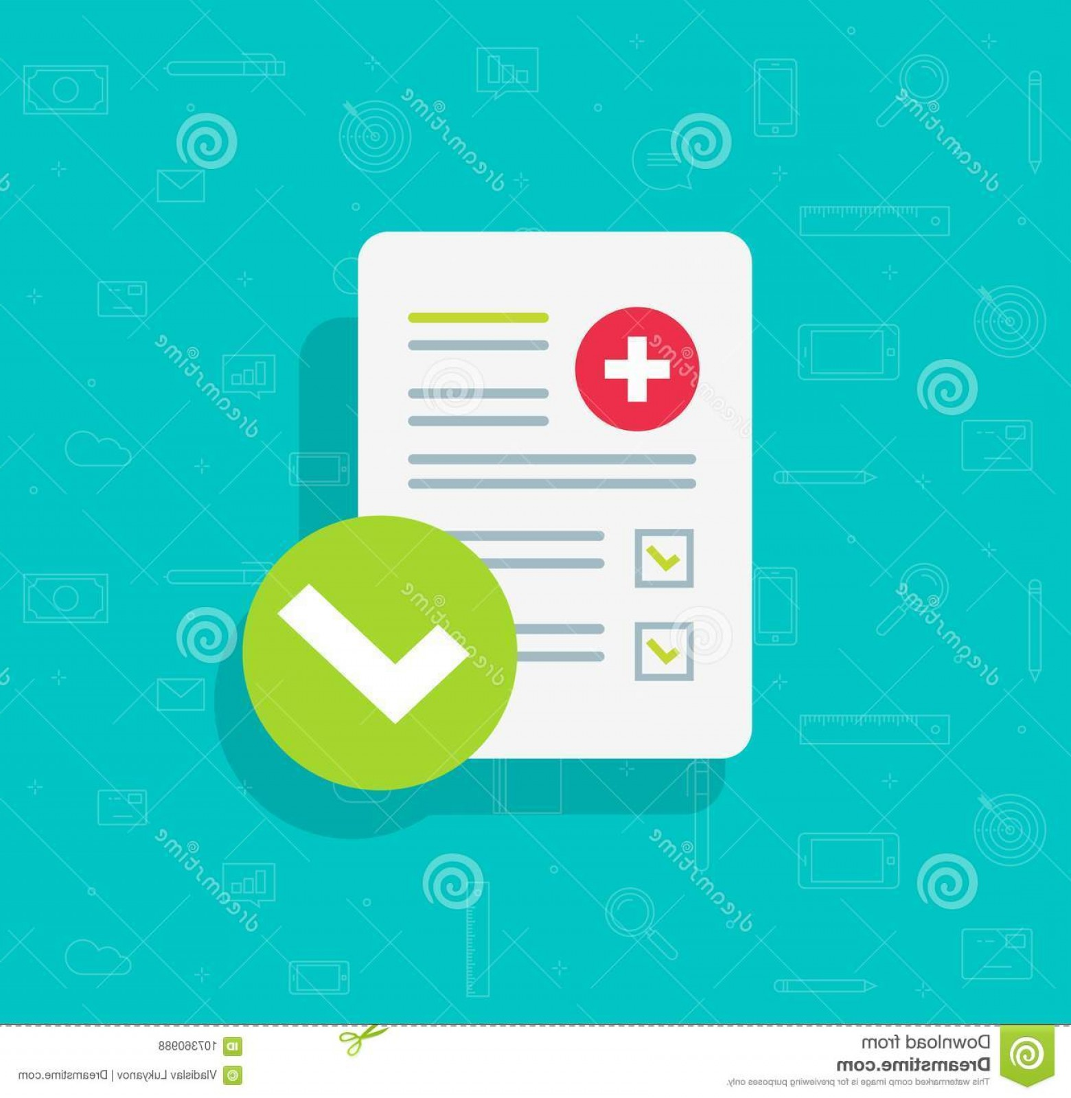 Vector Round Name List: Medical Form List Results Data Approved Check Mark Vector Illustration Flat Cartoon Clinical Checklist Document Checkbox Image