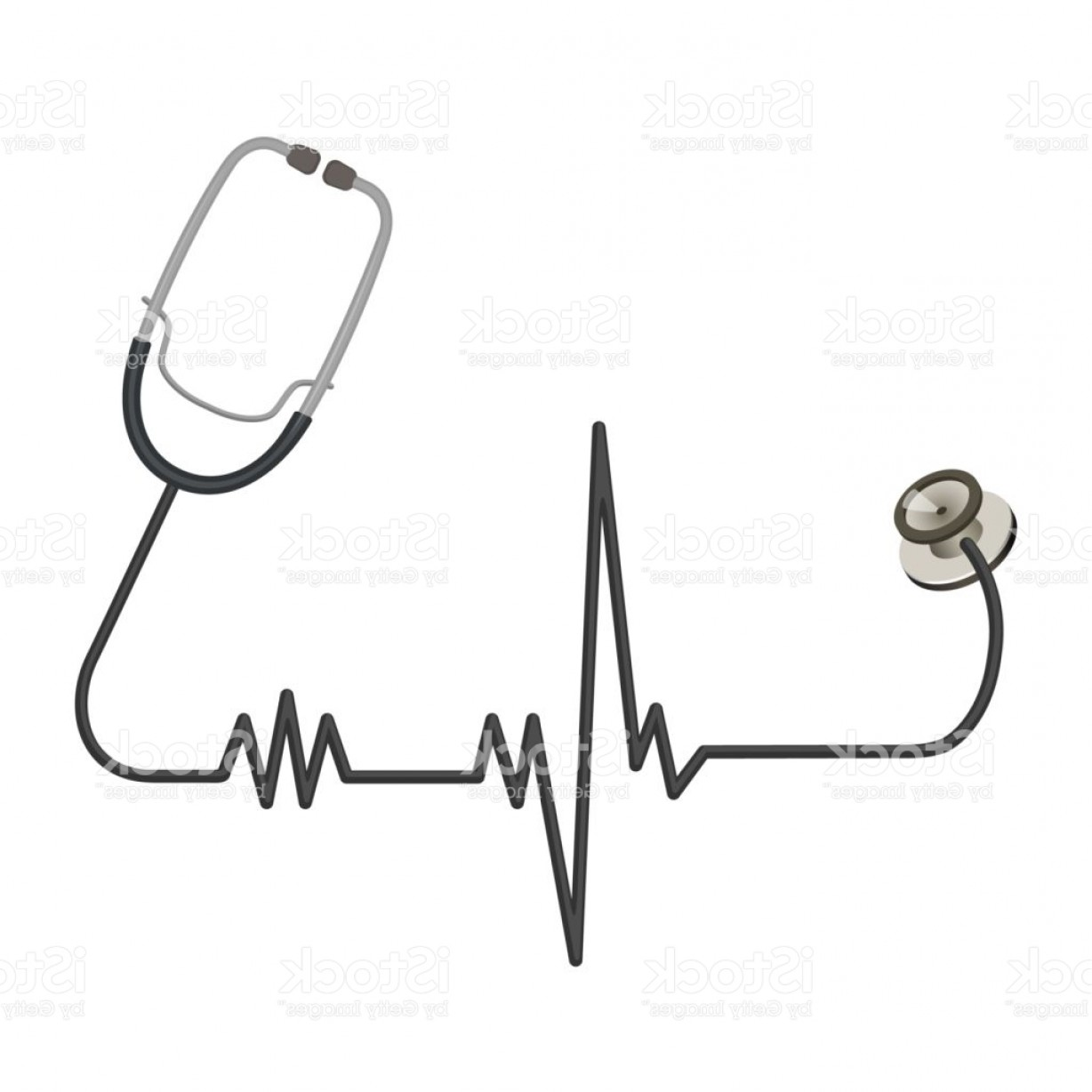 Heart Stethoscope With EKG Lines Vector: Medical Stethoscope With Long Wire In Shape Of Ekg Line Gm
